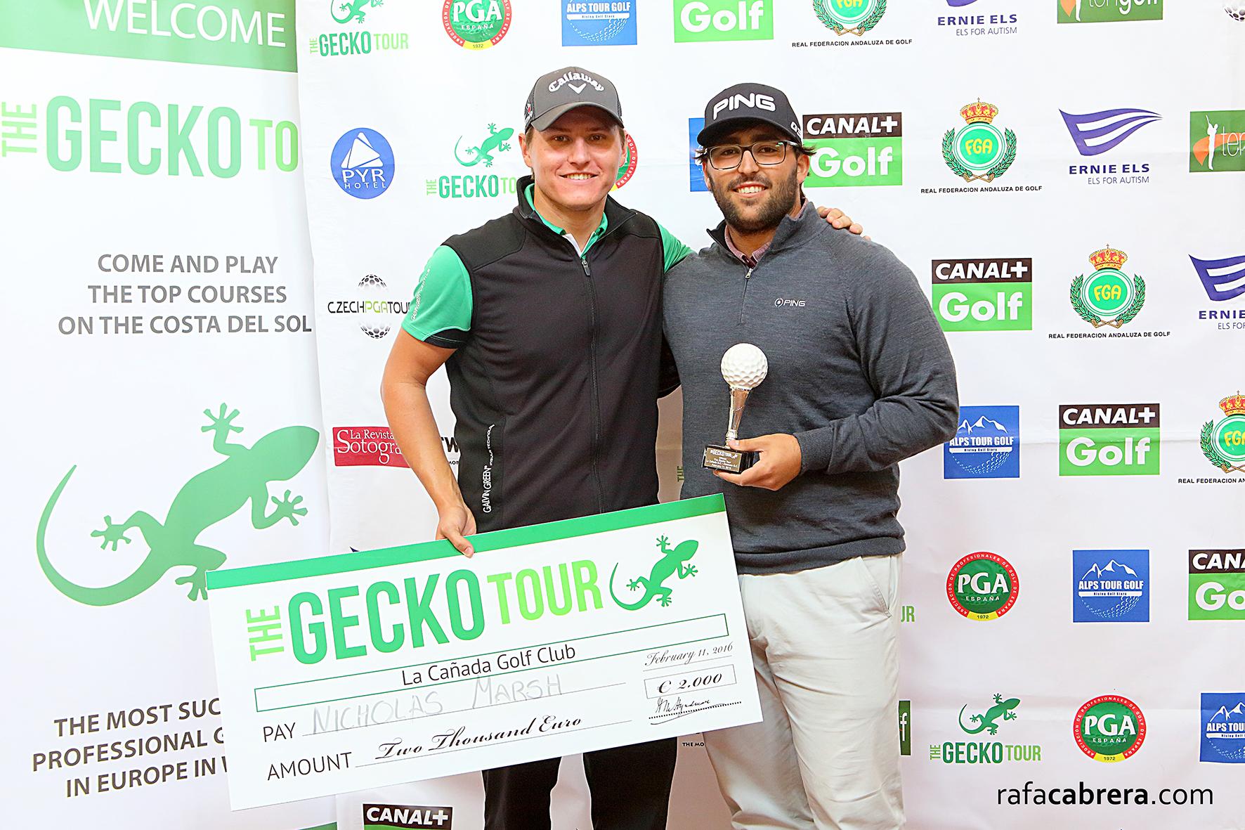 Mario Galiano, ganador, y Nick Marsh, mejor profesional del Gecko Tour en La Cañada y Almenara.
