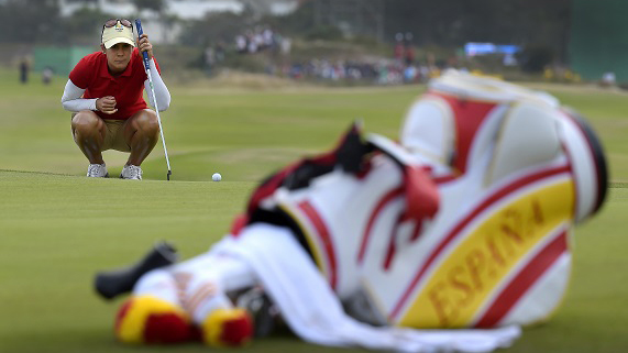 RIO DE JANEIRO, BRAZIL - AUGUST 18: Azahara Munoz of Spain studies her putt on the 18th hole during the second round of the Rio 2016 Olympic Games at the Olympic Golf Course on August 18, 2016 in Rio de Janeiro, Brazil. (Photo by Stan Badz/PGA TOUR/IGF)
